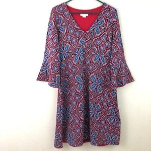 MAEVE Dress Medium Red Floral Bell Sleeves Red
